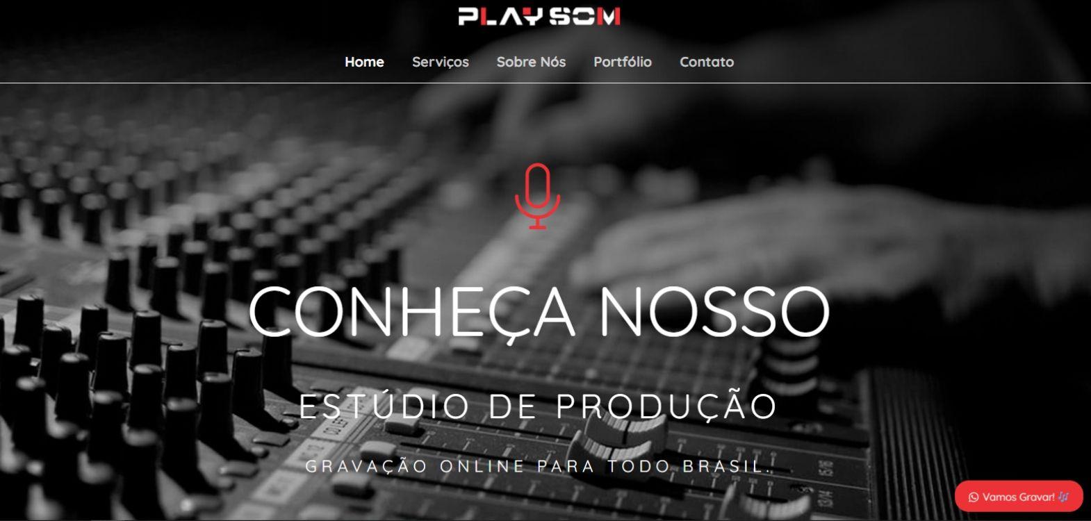 Site da Play Som Estúdio